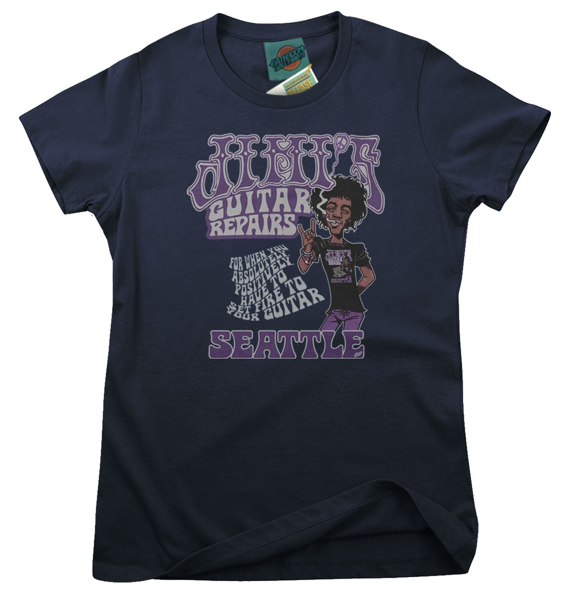 Jimi-Hendrix-inspired-Jimis-Guitar-Repair-Shop-Femmes-T-Shirt