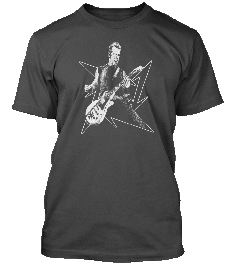 James-Hetfield-Seek-amp-Destroy-Metallica-inspired-Hommes-T-Shirt