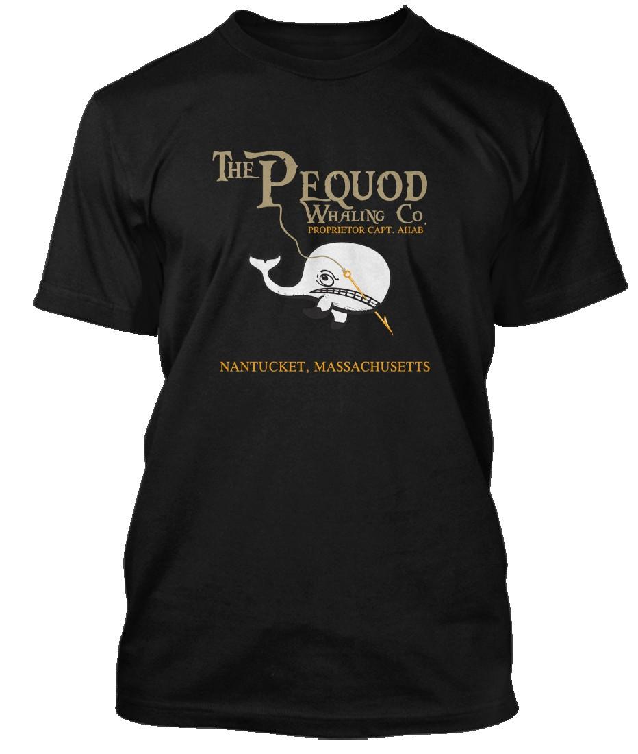 MOBY-DICK-INSPIRED-HERMAN-MELVILLE-PEQUOD-Hommes-T-Shirt